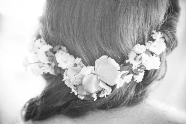 vicenza sposa preparativi corona fiori capelli nuca servizio fotografico nozze