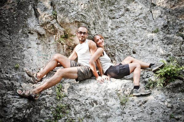 fotografo fidanzati prematrimoniale coppia arrampicata parete rocciosa lumignano vicenza
